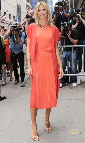 Heidi Klum works two fab looks in one day
