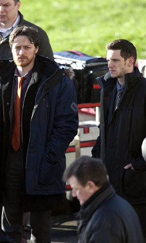 SEE PICS: James McAvoy and Jamie Bell on set of new film Filth!