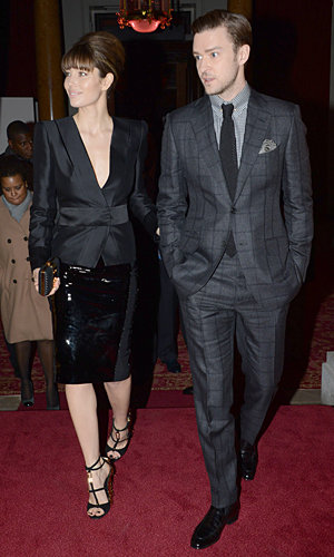 Jessica Biel and Justin Timberlake show off their his and hers style at Tom Ford
