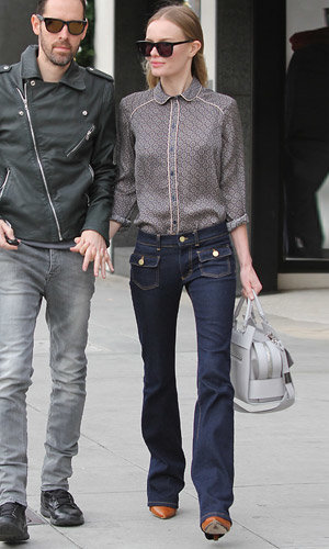 Kate Bosworth works Topshop pyjama shirt in Beverly Hills