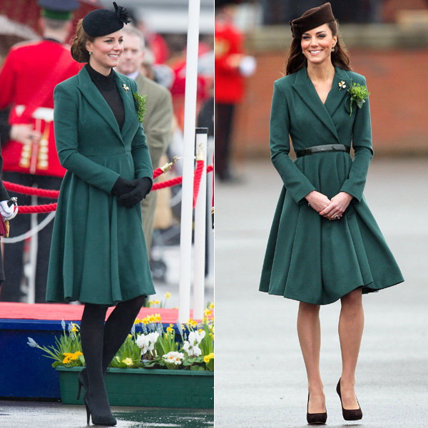 Pregnant Kate Middleton recycles green Emilia Wickstead coat for St Patrick's Day celebrations