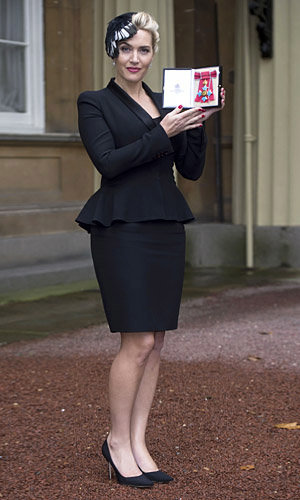 Kate Winslet wears Alexander McQueen to collect CBE