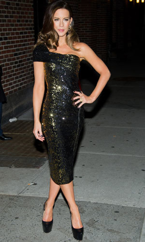 CELEBRITY FASHION: Kate Beckinsale shines in sequined Donna Karan!