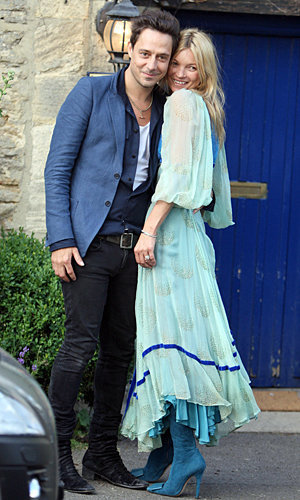Something blue! Kate Moss gets ready for wedding this weekend