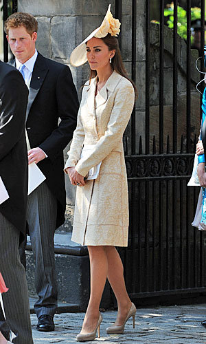 Kate Middleton recycles ivory brocade coat by Jane Troughton for Royal wedding