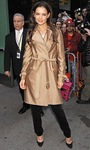 Katie Holmes works a trench on Good Morning America
