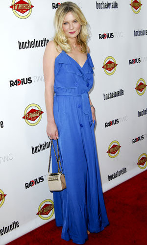 Kirsten Dunst goes for maxi glamour at the Bachelorette premiere