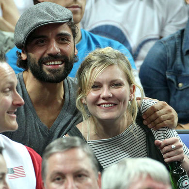 Kirsten Dunst cheers on Team USA at the Olympics