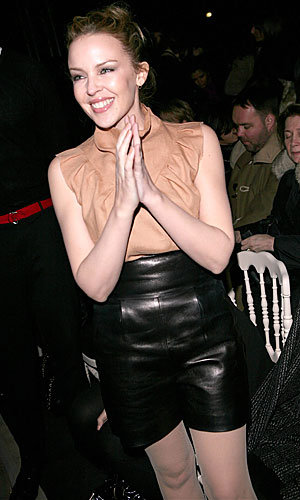 Kylie Minogue hits the Paris Fashion Week front row in leather shorts