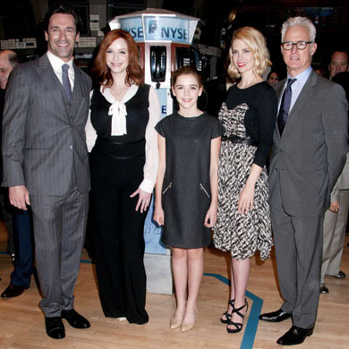 The cast of Mad Men ring the opening bell of the New York stock exchange!