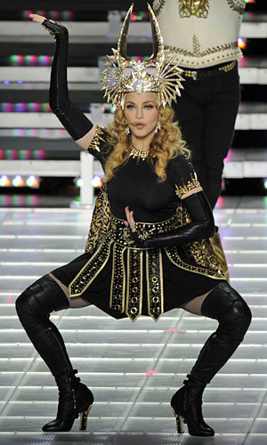 Madonna rocks out in Givenchy couture at Bridgestone Super Bowl