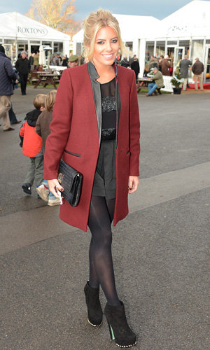 Stylish celebrities work winter coats at Hennessy Gold Cup