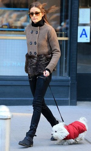 Olivia Palermo works winter boots