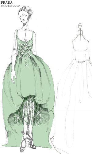 Prada costume sketches for Great Gatsby movie unveiled