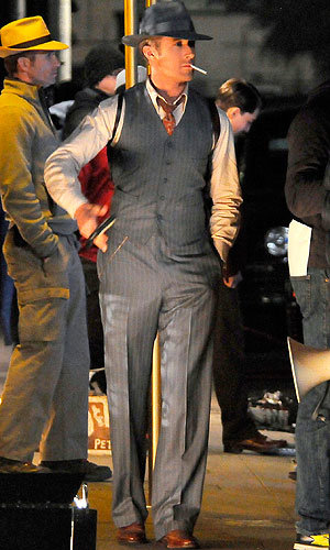 WOW! Ryan Gosling sizzles on set of Gangster Squad!