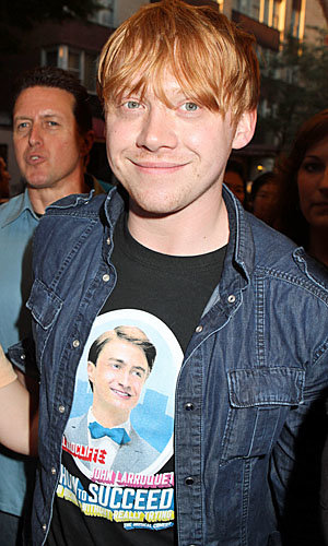 Harry Potter stars Rupert Grint, Tom Felton and Matt Lewis head to NYC to see Daniel Radcliffe's show