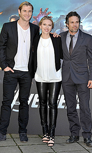 Scarlett Johansson and her Avengers co-stars assemble for a photo call