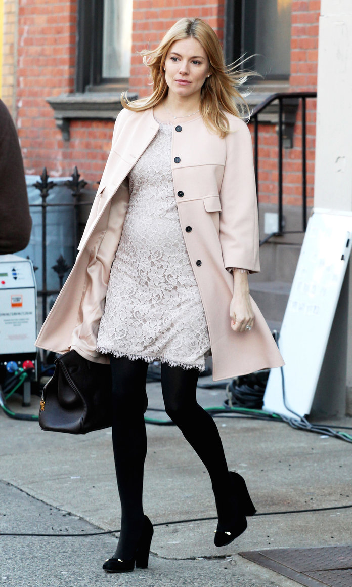 Sienna Miller demure in lace on set of new movie A Case Of You in New York