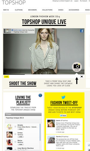 Customise Topshop's SS13 catwalk show thanks to Facebook!