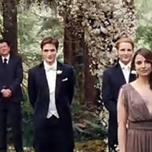 TWILIGHT WEDDING PIC: Robert Pattinson waits for Kristen Stewart at the altar