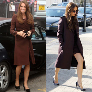 Kate Middleton and Victoria Beckham's burgundy coat style-off