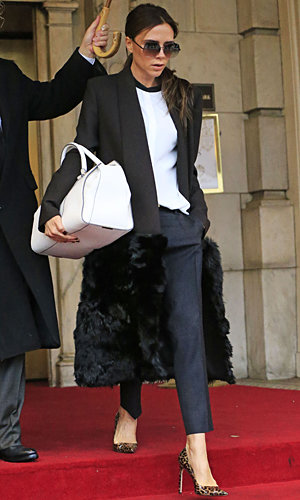Victoria Beckham steps out in furry coat ahead of second fashion show