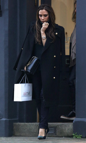 Victoria Beckham wraps up for a London shopping trip
