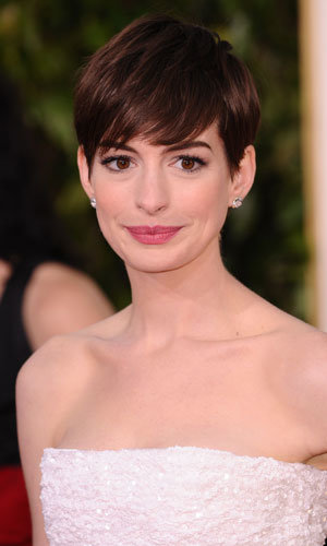 We love Anne Hathaway's side-swept short hairstyle