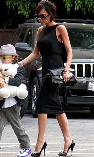 Victoria Beckham glams up for Romeo's birthday