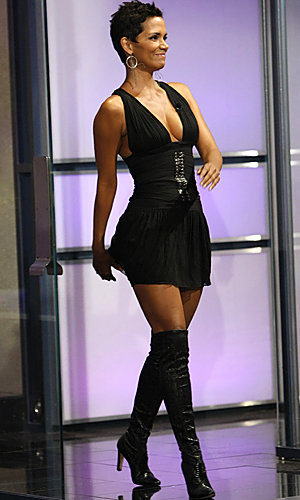 Halle Berry rocks the over-the-knee boots trend on Jay Leno
