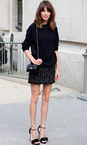 Alexa Chung arrives at Chanel couture show