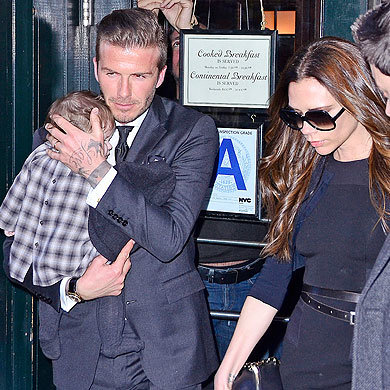 David Beckham takes Victoria and baby Harper for lunch in New York!