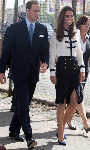 Kate Middleton goes nautical chic in Alexander McQueen as she visits Birmingham with Prince William