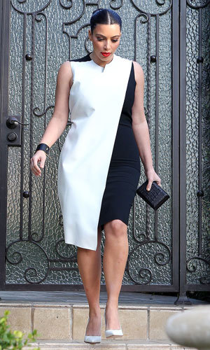 Pregnant Kim Kardashian works the monochrome fashion trend