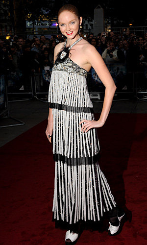 Lily Cole shines at the premiere of Heath Ledger's last film