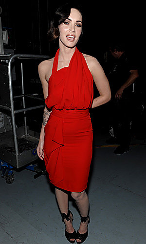 Megan looks foxy in red for awards ceremony in LA