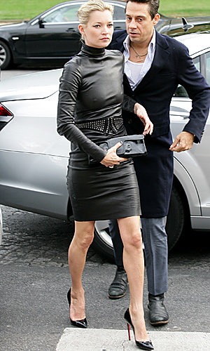 Kate Moss wows in skintight leather dress