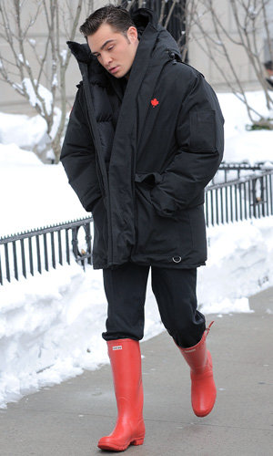 ON SET: Ed Westwick and Catherine Zeta Jones take on the snow in NYC
