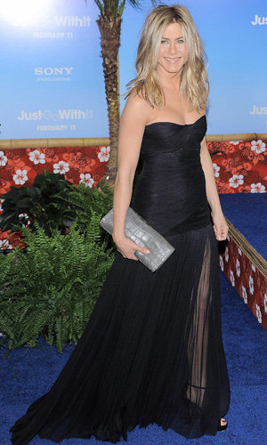 Jennifer Aniston does sheer and chic at Just Go With It premiere