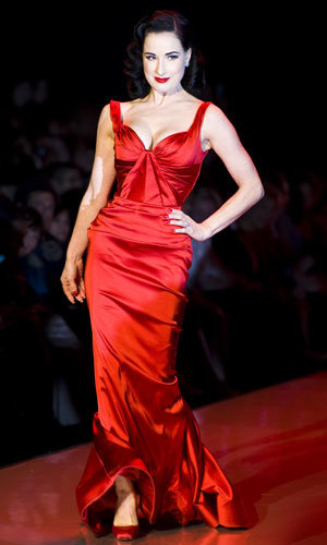 Cat Deeley and Dita Von Teese take to The Heart of Truth's red runway