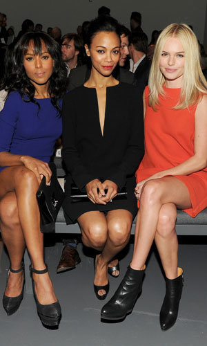 Kate Bosworth and Zoe Saldana go front row at Calvin Klein