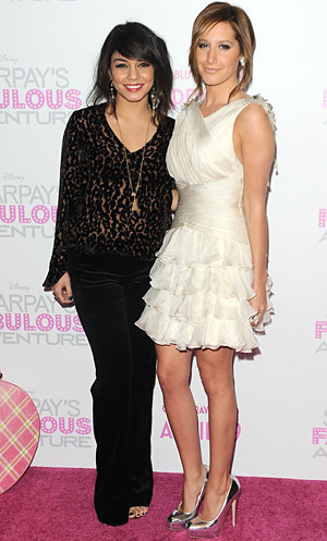 High School Musical's Ashley Tisdale goes romantic in ruffles at DVD launch party in LA