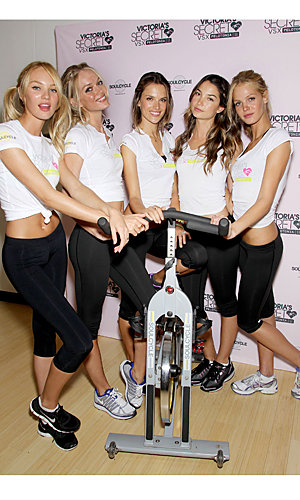 Victoria's Secrets models cycle for charity!