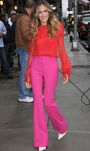 Sarah Jessica Parker does show-stopping brights in NYC