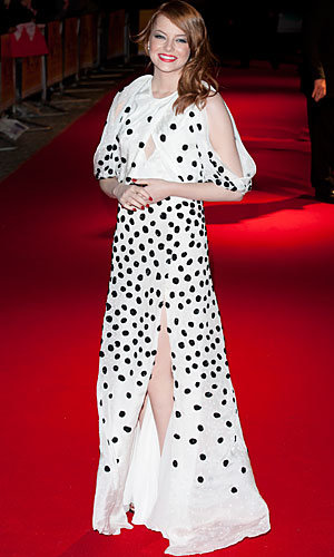 SEE VIDEO: Emma Stone goes dotty at The Help premiere in London