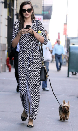 CELEB FITNESS: Miranda Kerr goes dog walking