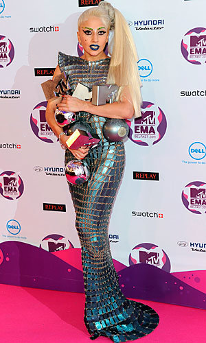Lady Gaga wins big while Justin Bieber and Katy Perry also take home awards at the MTV EMAs