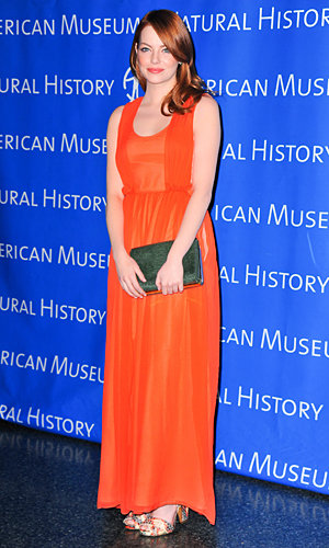 STAR STYLE: Emma Stone dazzles in bright gown at American Museum of Natural History!