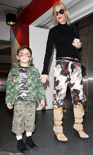 CUTE PICS: Gwen Stefani and son work matching look in camouflage!