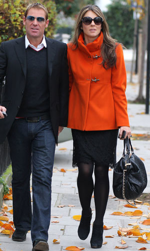 Elizabeth Hurley tries out Pippa Middleton's favourite Fay coat